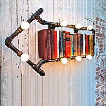 SJUN Kreativen Prozess Rohr Regal Vintage Industrielle Wand Lampe Schlafzimmer Regale Wandleuchte,B