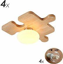 SJUN LED Holz Deckenleuchte nordische einfache Persönlichkeit Kinderzimmer Deckenleuchte Puzzle Tatami Lampe Flur Eingang Holzlampe (Color : A, Größe : 4X)
