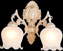 SJUN-Ma Tau Wandleuchte Einfache europäische Pastoral, Europäische spiegel lampe Retro Lounge, Balkon, Bügeleisen Schlafzimmer Beleuchtung,D