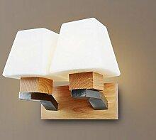 SJUN-Nordic holz massivholz bett Wandleuchte Wandleuchte Einfaches kontinentales Wohnzimmer Schlafzimmer Wand Lampe