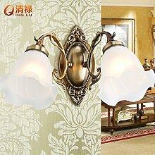 SJUN-Wandleuchte im europäischen Stil einfach europäischen ländlichen Flur der Flur spiegel lampe Schlafzimmer Wohnzimmer Balkon mit schmiedeeisernen Beleuchtung,A