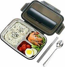 SJWR Bento-Brotdose mit 3 Fächern, quadratischer,
