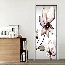 SJXCDZ Einfache Blumentür Aufkleber Mode Kunst