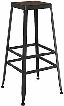 SjYsXm-Bar stool Bar Stuhl Massivholz Stil Schmiedeeisen Barhocker Barhocker Modern Minimalist Stuhl Hochstuhl Barhocker mit Fußstütze (Farbe : Wooden, größe : 75cm)