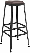 SjYsXm-Bar stool Bar Stuhl Massivholz Stil Schmiedeeisen Barhocker Barhocker Modern Minimalist Stuhl Hochstuhl Barhocker mit Fußstütze (Farbe : Leather, größe : 65cm)