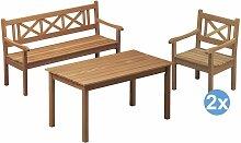 Skagerak Skagen Gartenset 140x78 Tisch + 2 Stühle
