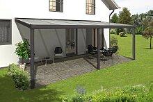 Skan Holz Aluminium-Terrassenüberdachung Garda 648 x 357 cm, anthrazit, Doppelstegplatten