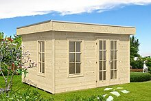 SKAN HOLZ Flachdachhaus Breda, 28 mm, unbehandelt Gartenhäuser, natur, 300 x 380 x 255 cm