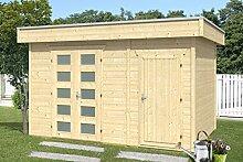 SKAN HOLZ Flachdachhaus, Venlo 3, 28 mm, unbehandelt Gartenhäuser, natur, 250 x 380 x 255 cm