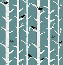 skandinavisch Bäume & Vögel Muster außenschablone. Scandi Stil Hygge Wand dekorieren. maßgeschneidert Wanddekoration außenschablone. Farbe Wände Stoff & Möbel wiederverwendbar
