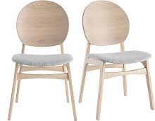 Skandinavische helle Holzstühle mit hellblauem