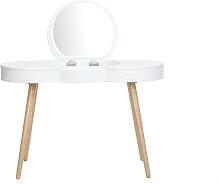 Skandinavischer Frisiertisch Holz Weiß Spiegel