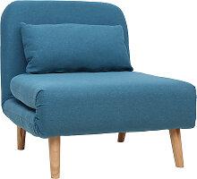 Skandinavischer Schlafsessel aus blaugrünem Stoff