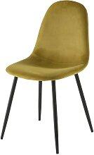 Skandinavischer Stuhl, gelber Samtbezug Clyde