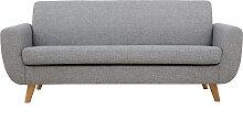 Skandinavisches 3-Sitzer-Sofa in Hellgrau und Holz