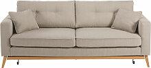 Skandinavisches Ausziehbares 3-Sitzer-Sofa, beige