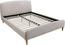 Skandinavisches Bett 140 x 200 cm Stoff Beige NIELS
