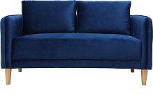 Skandinavisches Sofa 2-Sitzer Velours Blau KURT ?