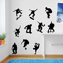 SKATEBOARDER Skate Sports Wandbild Dekorationen Fenster Aufkleber Wall Decor Sticker Wall Art Aufkleber Sticker Wand Aufkleber Aufkleber Wandbild Décor DIY Deco Abnehmbare Wandaufkleber Colorful Aufkleber, Vinyl, schwarz, S