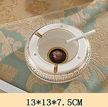 SKC LIGHTING Europäische Luxus Keramik Größe Aschenbecher Kreative Pers5onlichkeit Wohnzimmer Bürokaffeetisch Dekoration ( größe : 13*13*7.5CM )