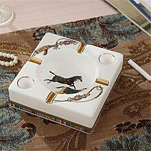 SKC LIGHTING Europäische Luxus Keramik Größe Aschenbecher Kreative Pers5onlichkeit Wohnzimmer Bürokaffeetisch Dekoration ( größe : 14*14*4.5CM )