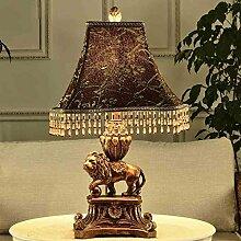 SKC LIGHTING European Style Tischleuchte Neue klassische Dekoration Wohnzimmer Study Schlafzimmer Nachttischlampe mit Harz-Material Schnitzen Prozess Button Switch E27 Lichtquelle