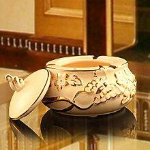 SKC LIGHTING Keramikascher mit einem Deckel European Creative Aschenbecher Große Wohnzimmer-Dekoration Persönlichkei