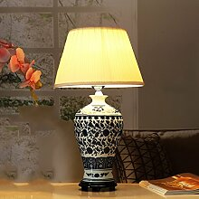 SKC LIGHTING Keramische Tischlampe Dekoration Einfache Schlafzimmer Nachttisch Amerikanische Pastoral Moderne Chinesische Beleuchtung