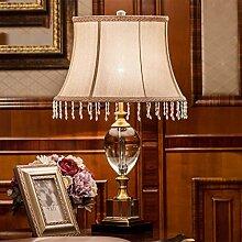 SKC LIGHTING Kristall-Dekoration-Tabellen-Lampe Europäischer Art-großer Studienraum-Wohnzimmer-Lampen-Luxuxgold-Nachttisch-Schlafzimmer-Beleuchtung