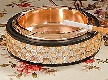 SKC LIGHTING Metall Edelstahl kreativ Europäischen Club Aschenbecher KTV Mode Rauchofen Dekoration Aschenbecher ( Farbe : Gold , größe : 15.4*4.6cm )