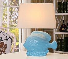 SKC LIGHTING Mittelmeer-blaue keramische Lampe Schlafzimmer-Nachttischlampe Europäisches modernes minimalistisches amerikanisches Wohnzimmer-kreative Dekoration-Fisch-Tabellen-Lampe
