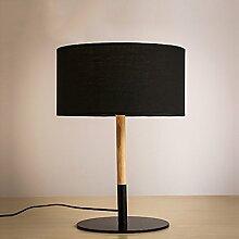 SKC LIGHTING Nordic Modern Einfache Persönlichkeit Dekoration Massivholz Stoff Kreative Schlafzimmer Tischlampe Nachttischlampe