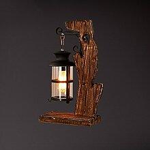 SKC LIGHTING Nostalgia LOFT Amerikanische Art-Schlafzimmer-Nachttisch-feste hölzerne kreative Dekoration-Tabellen-Lampe