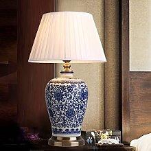 SKC LIGHTING Tischlampe Neue chinesische Art-Keramik-Schlafzimmer-Nachttischlampen-moderne einfache amerikanische Art-ländliche alle Bronze-europäische Art-Studie E27