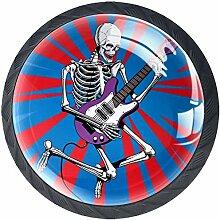 Skeleton Rock Guitar Player Jumps 4 Stück