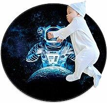 Skelett-Astronauten-Teppich, rund, für