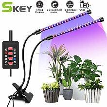 SKEY Doppelkopf Pflanzenlampe mit Zeitfunktion,