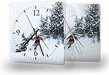 Ski - Moderne Wanduhr mit Fotodruck auf Polycarbonat   Fotouhr Bilderuhr Motivuhr Küchenuhr modern hochwertig Quarz, Variante:30 cm x 30 cm mit weißen Zeigern