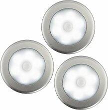 Skitic 3 Pack Batteriebetriebenes LED Nachtlichter mit Bewegungsmelder Stick Überall Nachtlicht Innenwandleuchten für Eingangshalle Keller Garage Badezimmer Schrank Wandschrank Schlafzimmer Flur - Weiß