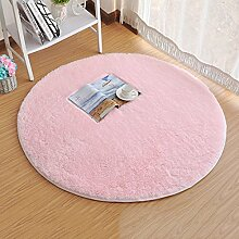 SKL 120cm*2.5cm Super Soft Chenille Fiber Round Shaggy Area Rugs and Carpet Sitting Room Bedroom Home Carpet Computer Chair Cushion (Pink) by SKL