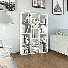 SKM Raumteiler/Bücherregal Hochglanz-Weiß