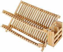 SKOLOO Bambus Abtropfgestell, zusammenklappbar,