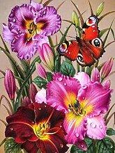 SKSK 5D Diamant Malerei Blume und Schmetterling