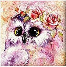SKSK 5D Diamant Malerei Rose Owl voller Diamant