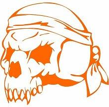 Skull Aufkleber 001, 50 cm, orange