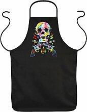 Skull & Guns Kochschürze mit Neon Motiv: - Geschenkidee Schürze Küchenschürze Partyschürze Schürze Mitbringsel