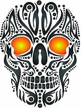 Skull Tattoo Schablone-wiederverwendbar Tribal