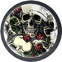 Skulls with Red Roses 4 Stück Schubladenknöpfe
