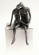 Skulptur, Dekoobjekt PAAR Kantensitzer Bronzeoptik