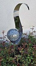 Skulptur Flame Anthrazit aus Edelstahl 146 cm
